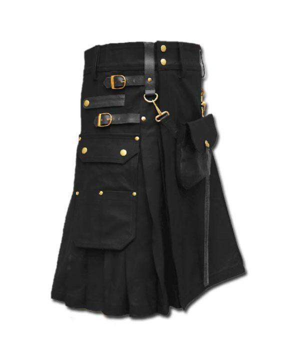 Celtic Leather Kilt with Leather Sporran-black