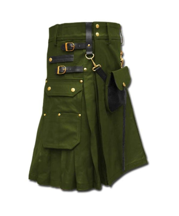 Celtic Leather Kilt with Leather Sporran-green