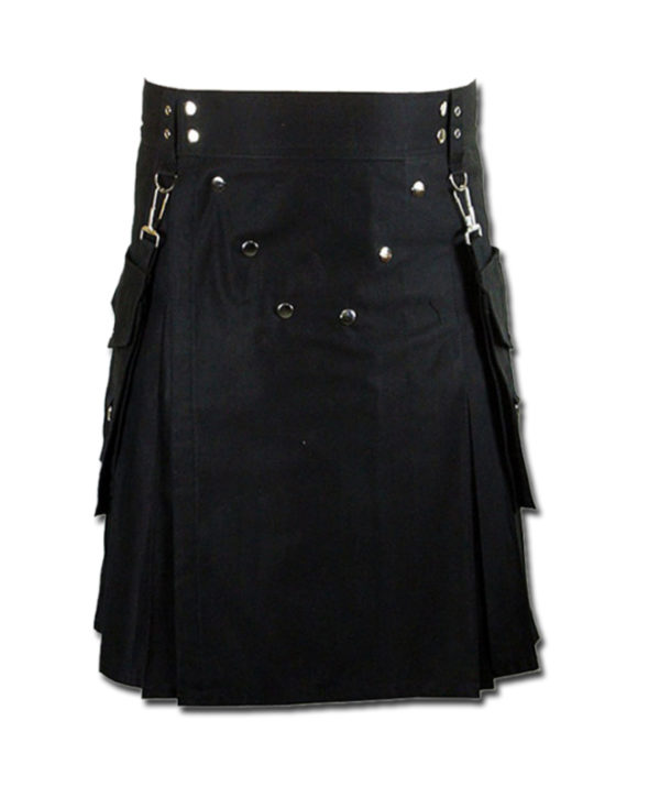Detachable Pockets Kilt for Running Man black 1