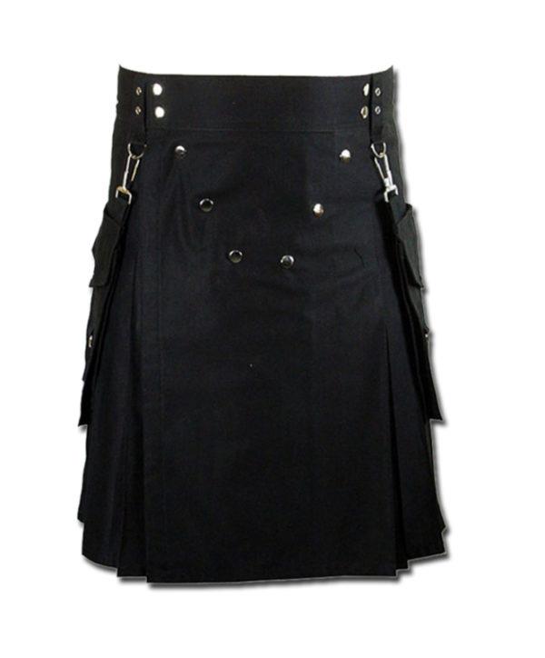 Detachable Pockets Kilt for Running Man black 1