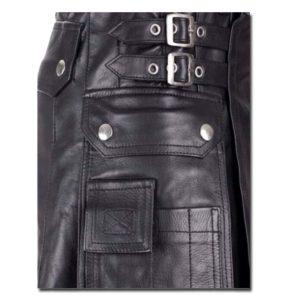 Leather Kilt with Twin Cargo Pockets