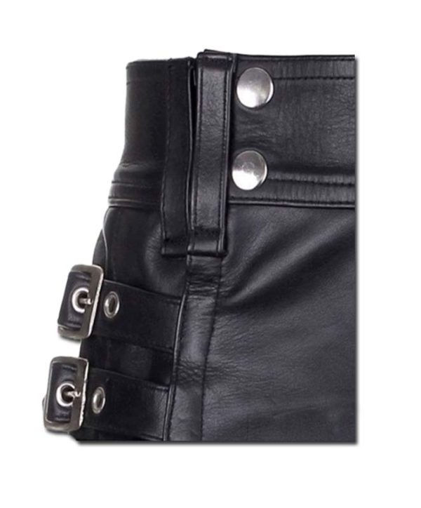 Leather Kilt with Twin Cargo Pockets-3