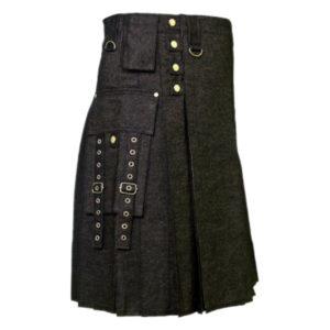 Men's Black Denim Modern Kilt-1