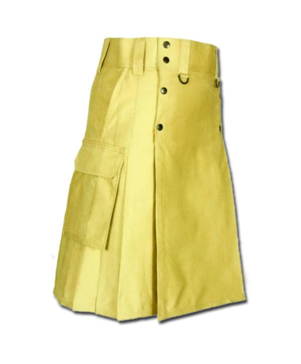 Slash Pocket Kilt for Elegant Men yellow 1