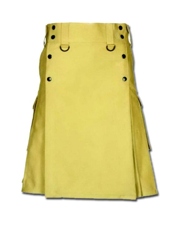 Slash Pocket Kilt for Elegant Men yellow 2