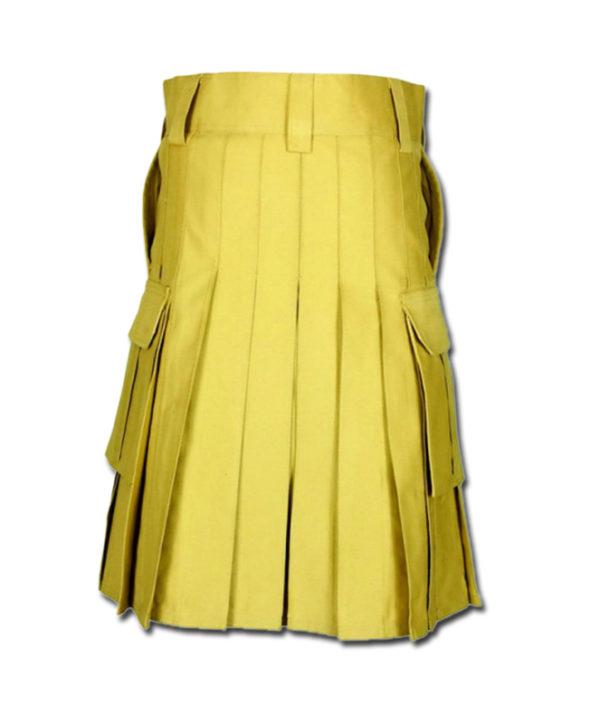 Slash Pocket Kilt for Elegant Men yellow 3
