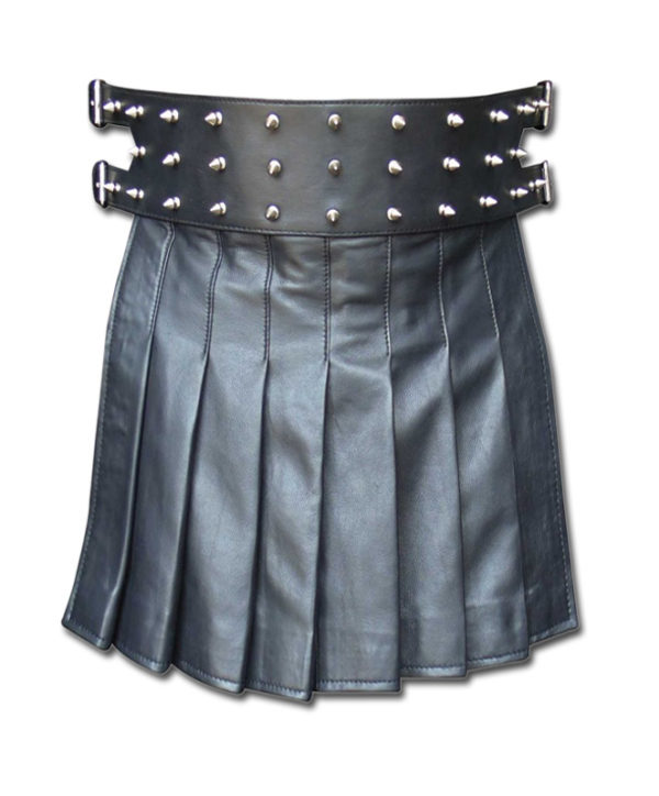 Black Mini Leather Gladiator Kilt with Studs-1