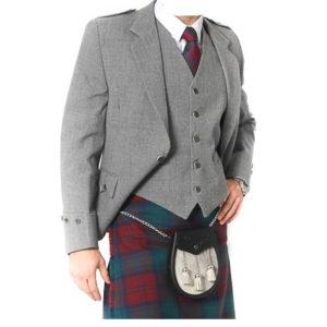 Light Grey Tweed Argyle Jacket And 5 Button Vest