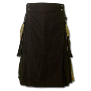 Black Camo Fashion Kilt With Box Pleats