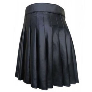 Cowhide Black Open Pleated Leather Kilt