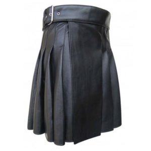 Cowhide Black Open Pleated Leather Kilt