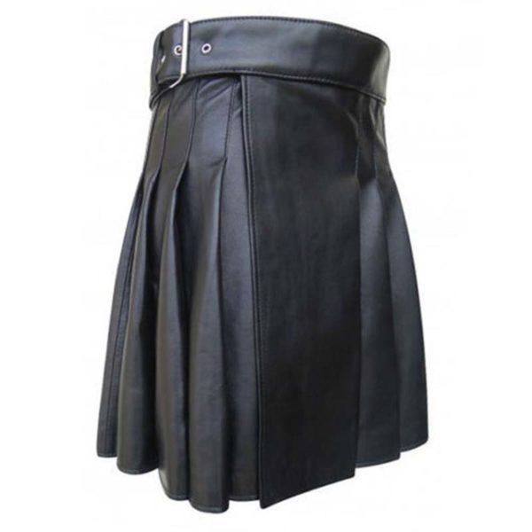 cowhide-black-open-pleated-leather-kilt-side