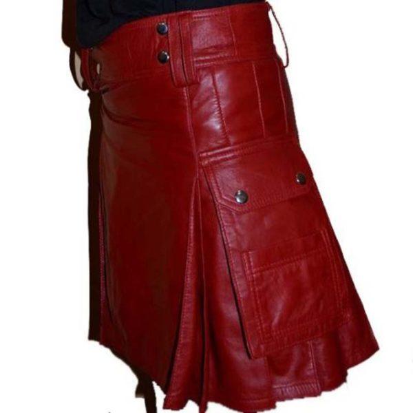 leather-gladiator-scottish-warrior-pleated-kilt-left