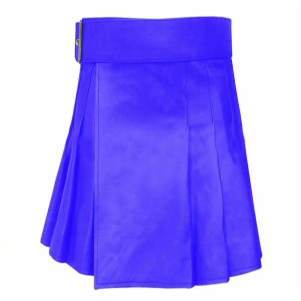 short-mini-blue-leather-kilt