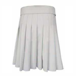 Short Mini White Leather Kilt