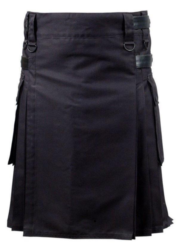 Black-Deluxe-Utility-Fashion-Kilt-Front