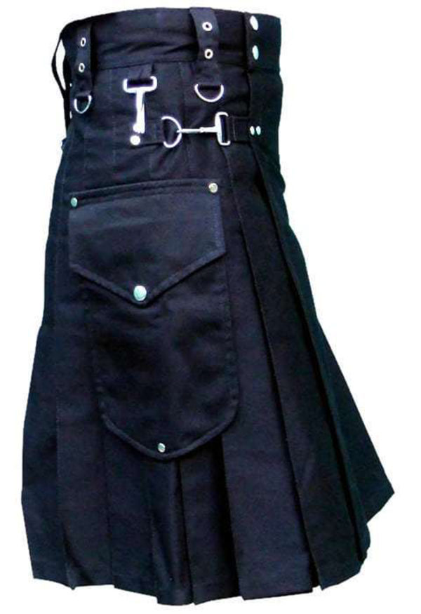 Black-Deluxe-Utility-Kilt-with-Cargo-Pockets