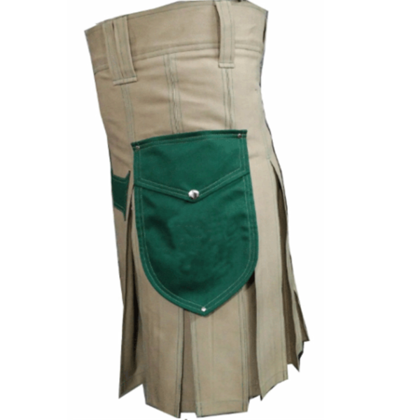 Khakhi-Christ-Kilt-with-Green-Pockets-green