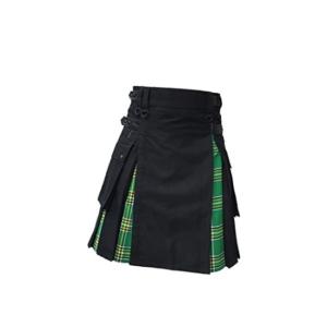 Mens Hybrid Leather Straps Black Cotton Irish (Pride Of Scotland) Utility Kilt