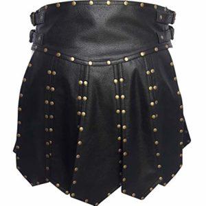 Mens Real Black Leather Heavy Duty Gladiator Kilt
