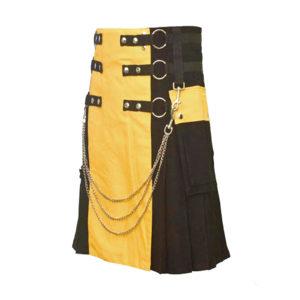 Scottish Black and Yellow Utility Kilt For Active Man