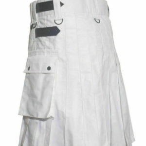 White Leather Strap Utility Kilt For Active Man Kilt Wedding Kilts