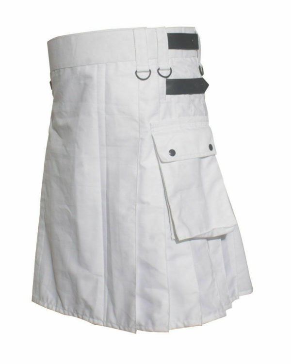 White Wedding Kilt: White Leather Strap Utility Kilt For Active Man Kilt