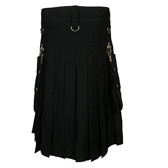 Black Fashion Gothic Kilt With Silver Chains1