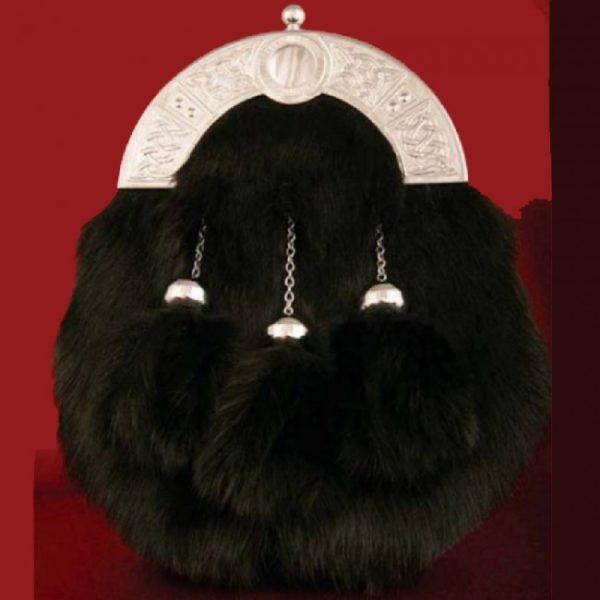 Black Full dress Rabbit fur sporran