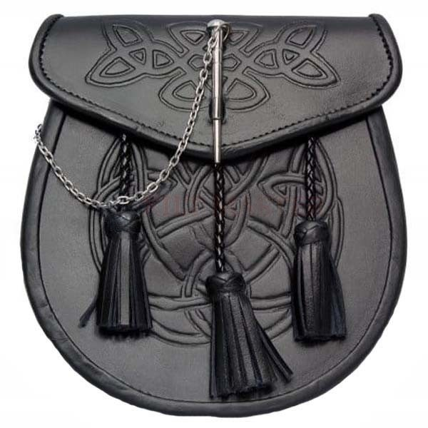 Celtic Embossed Leather Sporran