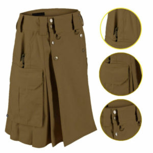 Dark Brown Tactical Men's Combat Cargo Uniform Battle Utility Kilt