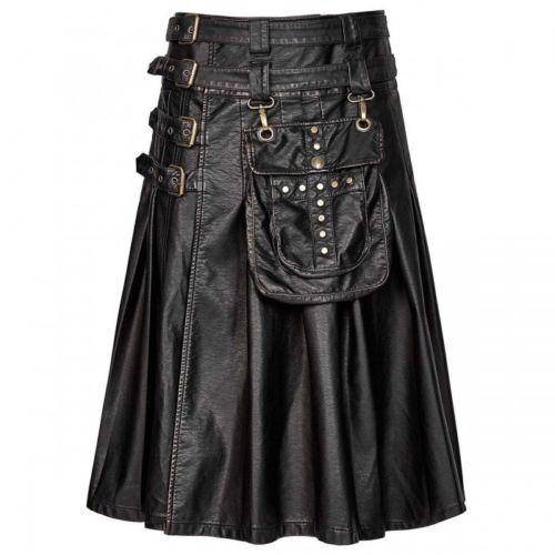 Handmade New Stylish Men's Gothic Fashion Kilt Black Steampunk