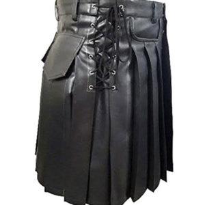 Mens Black Leather Kilt Larp