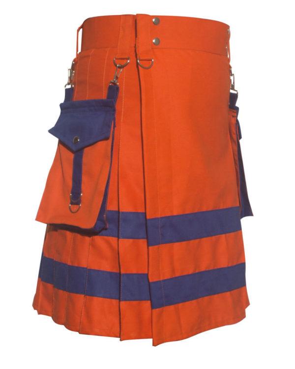 New Men,s Fashion Handmade Red Utility Kilt with Net Pockets