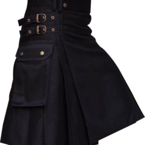 New Men's Black UtilityWeddig Kilt1