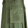 New Mens Olive Green Utility Wedding Kilt Made in 100% Cotton Brass Button 1