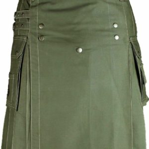 New Mens Olive Green Utility Wedding Kilt Made in 100% Cotton Brass Button