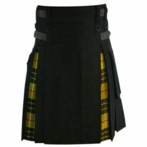 Scottish Hybrid Black & Mecleod of Lewis Tartan Kilt Men Handmade Utility Kilt