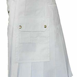 White Leather Strap Utility Kilt For Active Man Kilt Wedding Kilts