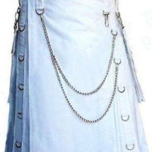 white duty Gothic highland custom kilt
