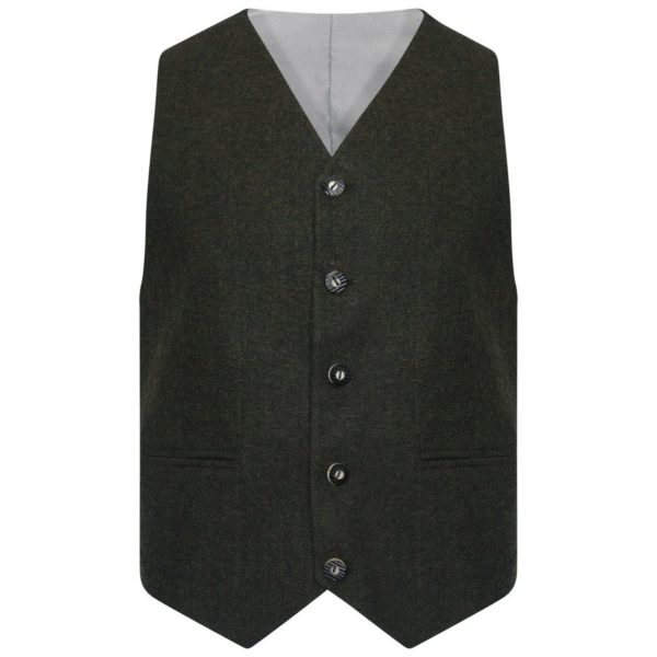 Olive Green Tweed kilt jacket With 5 Button Vest