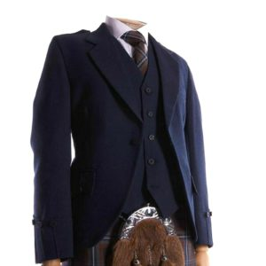 Men's Scottish Navy Blue Wool Argyle Kilt Jacket, 5 Button Waistcoat