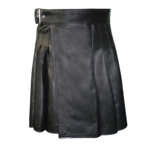 Side Belted Leather Kilt1
