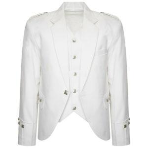 White Scottish Argyle kilt Jacket & Waistcoat