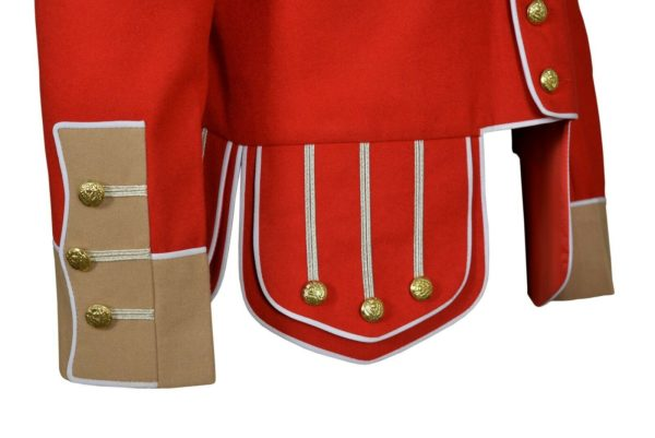 100% Wool Blend white Trim Red Military Doublet Pipe Band Jacket…
