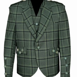 Traditional-Style-Lovat-Green-Tweed-Argyle-Kilt-Jacket-With-5-Button-Vest