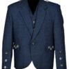 Tweed Crail Highland Blue Kilt Jacket and Waistcoat Scottish Wedding Dress
