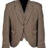 Brown Scottish Tweed Argyle Kilt Jacket With 5 Button Vest