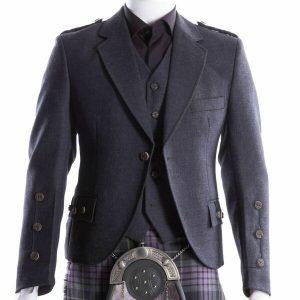 Crail Kilt Jacket and Waistcoat, Grey Charcoal Scottish