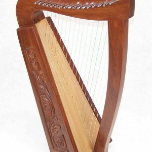 27 Inch Tall Celtic Irish Knee Harp 17 Strings Solid Wood Free Bag Strings Key